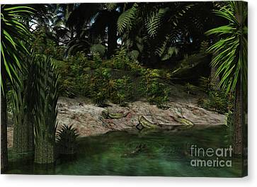 Dipterus Fish Emerge From A Devonian Canvas Print by Walter Myers