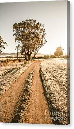 Dirt Frosted Country Road In Winter Canvas Print