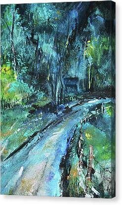 Dirt Road In Blue Canvas Print by Michele Carter