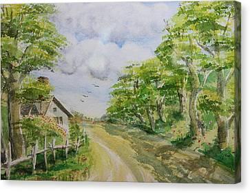 Dirt Road Canvas Print by Remegio Onia