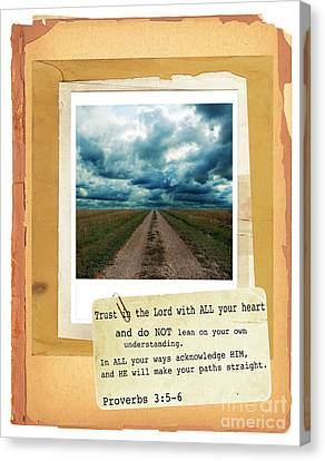 Dirt Road With Scripture Verse Canvas Print by Jill Battaglia