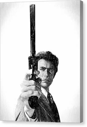 Harry Callahan Canvas Print - Dirty Harry Charcoal by Dan Sproul
