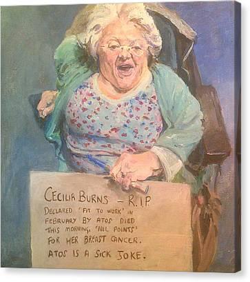 Disability Protester Remembers Cecilia Burns Canvas Print