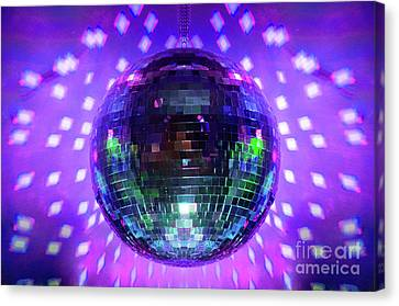 Disco Ball Purple Canvas Print by Andee Design