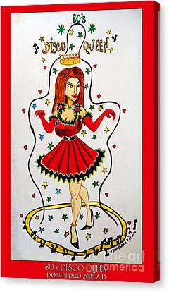 Canvas Print featuring the painting Disco Queen 80's by Don Pedro De Gracia