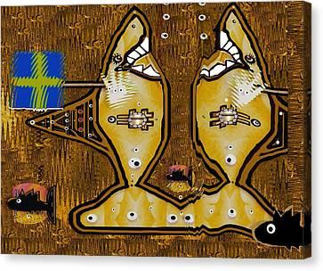 Disco Sharks Canvas Print by Pepita Selles