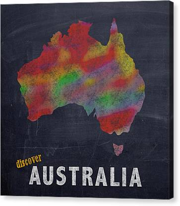 Discover Australia Map Hand Drawn Country Illustration On Chalkboard Vintage Travel Promotional Post Canvas Print by Design Turnpike