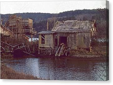 Canvas Print featuring the photograph Discovery Bay Mill by Laurie Stewart