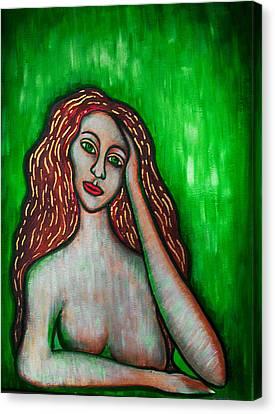 Discrete Contemplation-green Canvas Print by Brenda Higginson