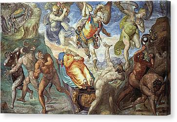 Discussion Over The Body Of Moses Canvas Print by Matteo Perez