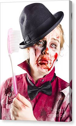 Diseased Woman With Big Toothbrush Canvas Print