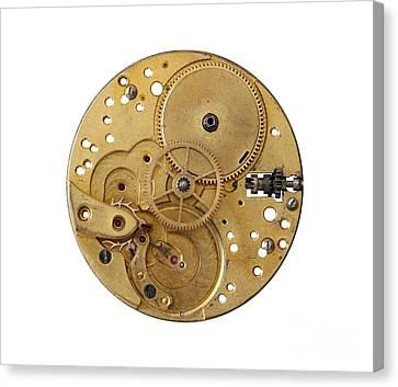 Canvas Print featuring the photograph Dismantled Clockwork Mechanism by Michal Boubin