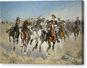 Dismounted The Fourth Troopers Moving The Led Horses Canvas Print by Frederic Remington