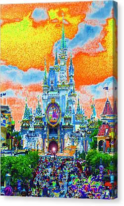 Disneyland Canvas Print - Disney At Fifty by David Lee Thompson