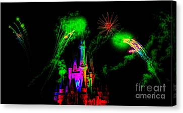 Canvas Print - Disney Castle With Fire Works by Paulette Thomas