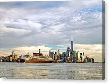Disney Cruise Ship Passing Freedom Tower In New York City Canvas Print by Geraldine Scull