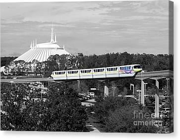 Canvas Print featuring the photograph Disney World Monorail Color Splash Black And White Prints by Shawn O'Brien