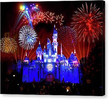 Red Fireworks Canvas Print - Disneyland 60th Anniversary Fireworks by Mark Andrew Thomas