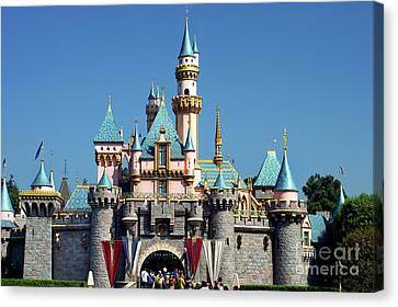 Canvas Print featuring the photograph Disneyland Castle by Mariola Bitner