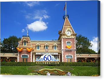 Canvas Print featuring the photograph Disneyland Entrance by Mark Andrew Thomas