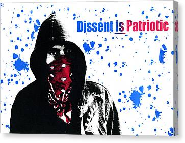 Dissent Is Patriotic Canvas Print by Jeffery Ball