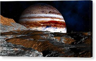 Canvas Print featuring the digital art Distance Storm Clouds by David Robinson