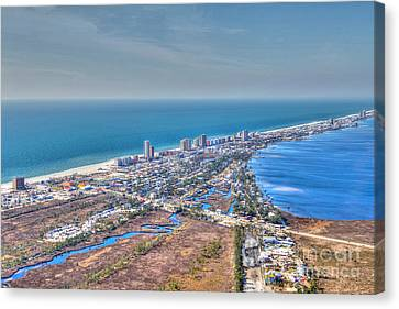 Distant Aerial View Of Gulf Shores Canvas Print