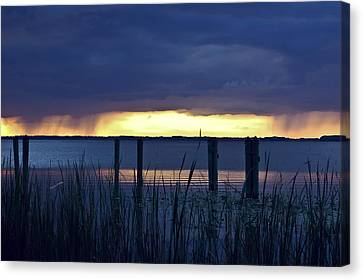 Distant Storms At Sunset Canvas Print by DigiArt Diaries by Vicky B Fuller
