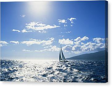 Distant View Of Sailboat Canvas Print by Ron Dahlquist - Printscapes