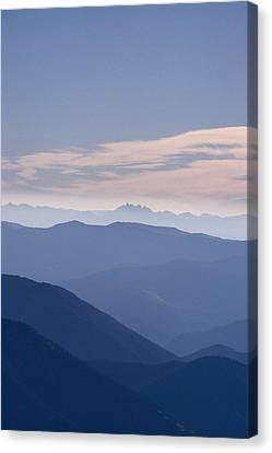 Distant View Of Wyomings Teton Canvas Print by Gordon Wiltsie