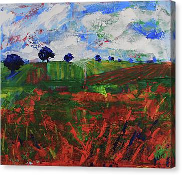 Canvas Print featuring the painting Distant Vineyards by Walter Fahmy