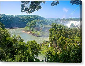 Distant Waterfalls In Iguazu Falls National Park-argentina Canvas Print by Ruth Hager