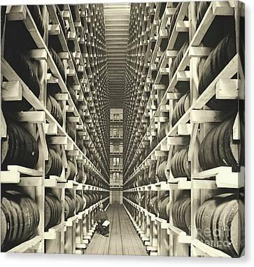 Distillery Barrel Racks 1905 Canvas Print by Padre Art