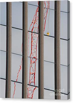 Distorted Reflection Of A Tower Crane Canvas Print by Thom Gourley/Flatbread Images, LLC