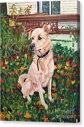 Distracted Puppy Canvas Print by Corry Leblanc