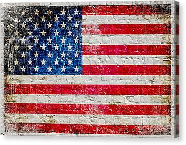 Distressed American Flag On Old Brick Wall - Horizontal Canvas Print