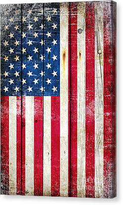 Distressed American Flag On Wood - Vertical Canvas Print