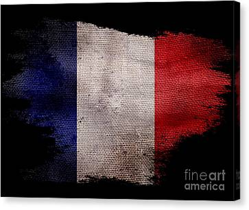 Distressed French Flag On Black Canvas Print by Jon Neidert