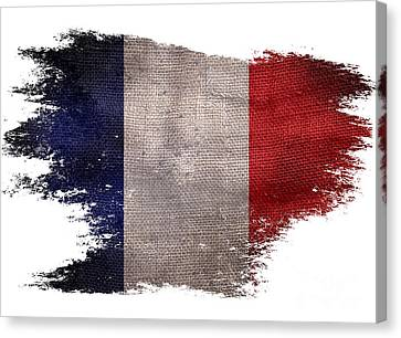 Distressed French Flag On White Canvas Print by Jon Neidert