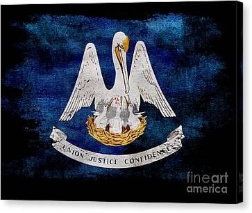 Distressed Louisiana Flag On Black Canvas Print