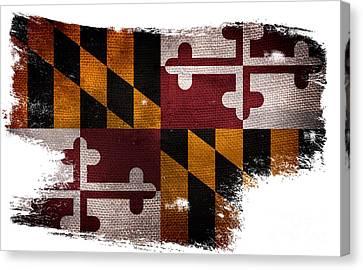 Distressed Maryland Flag Canvas Print by Jon Neidert