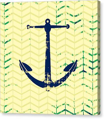 Distressed Navy Anchor Canvas Print by Brandi Fitzgerald