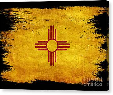 Distressed New Mexico Flag On Black Canvas Print