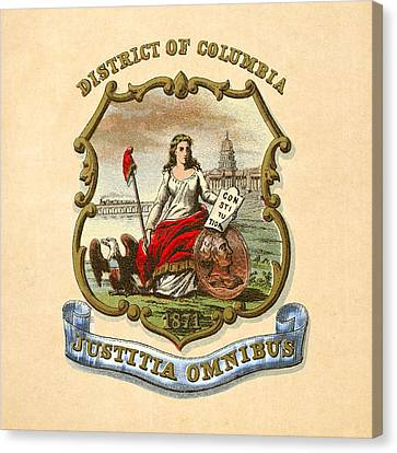 District Of Columbia Historical Coat Of Arms Circa 1876 Canvas Print by Serge Averbukh
