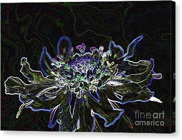 Ditigal Abstract Art Glowing Flower Canvas Print