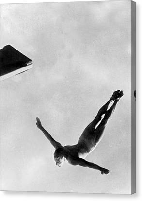 Diving Board Canvas Print - Diver by American School