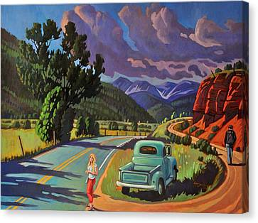 Canvas Print featuring the painting Divergent Paths by Art West