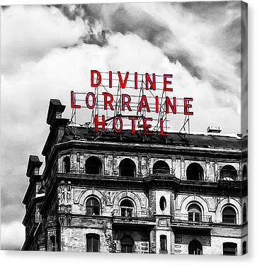 Divine Lorraine Hotel Marquee Canvas Print by Bill Cannon