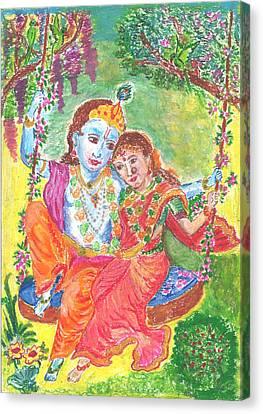 Divine Love Between Radha And Krishna Canvas Print by Chitra Pandalai