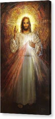 Divine Mercy, Sacred Heart Of Jesus 1 Canvas Print by Terezia Sedlakova Wutzay